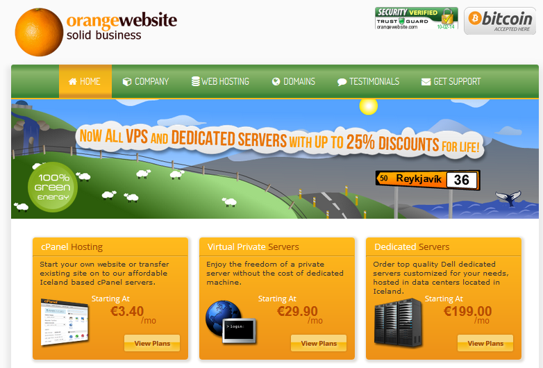 screenshot of orangewebsite.com