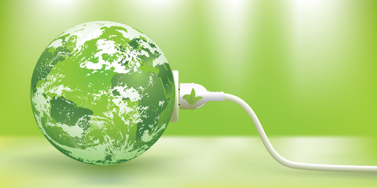 An image of abstract green energy concept with green earth.